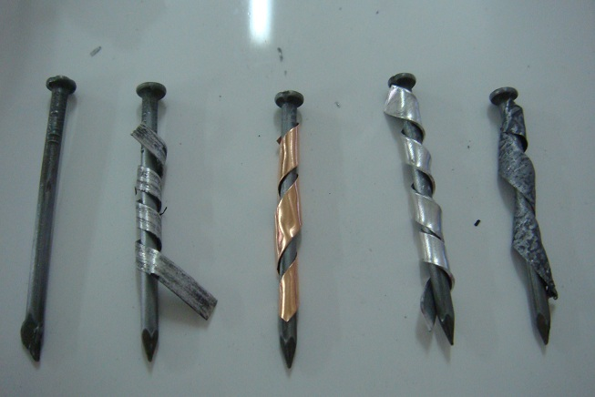 Figure 3: Metal strips cut into a smaller strips. There must have some space in between. All the iron nails were being coiled with gap in between, therefore students can observe the corrosion result easily.