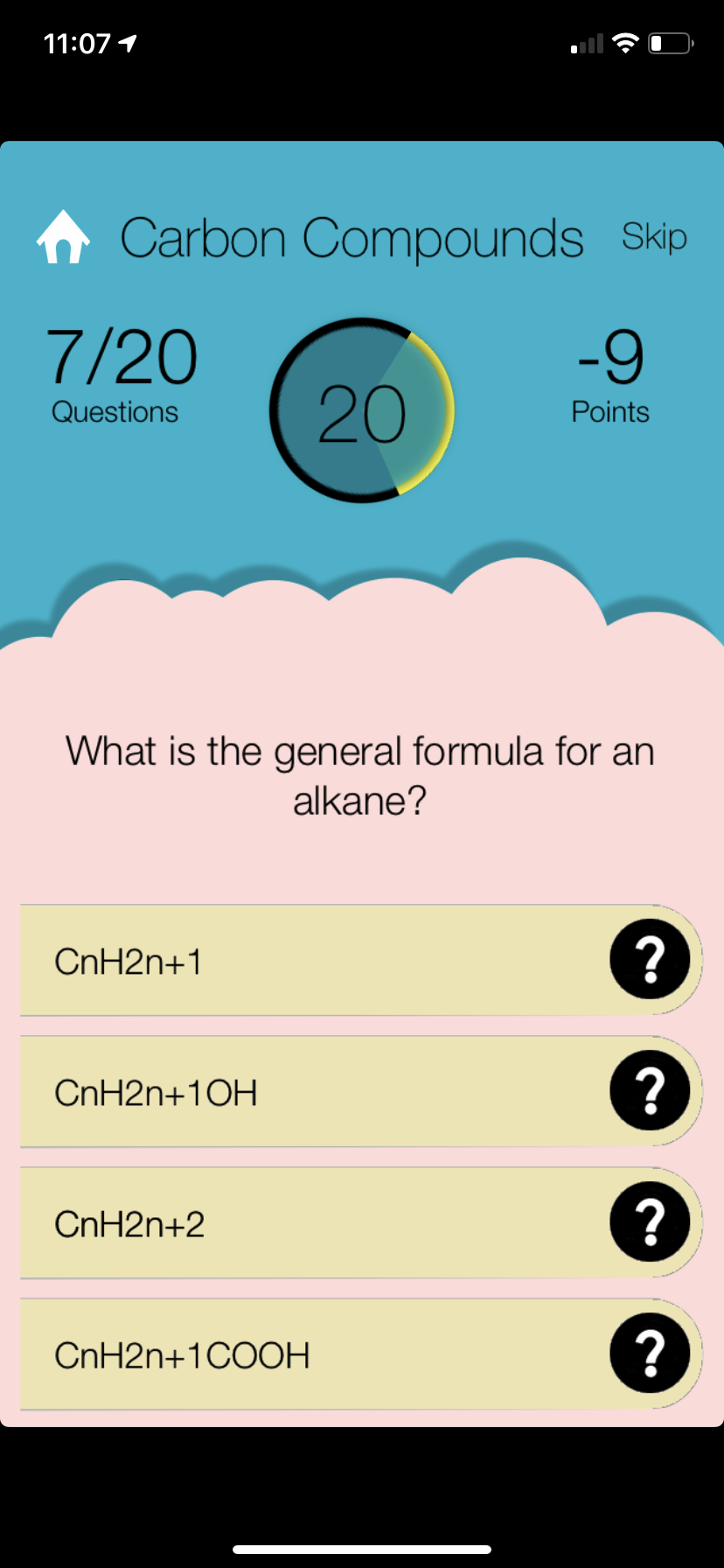 Quiz Screen for SPM Chemistry / SPM Kimia